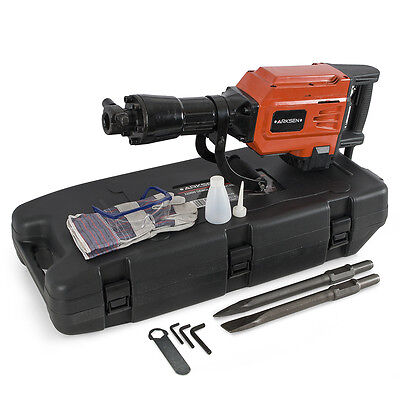 HD 2200 Watt Electric Demolition Jack Hammer Concrete Breaker Punch +Chisel Bit