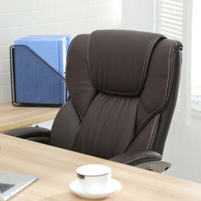 Brown PU Leather High Back Office Chair Executive Task Ergonomic Computer Desk 2