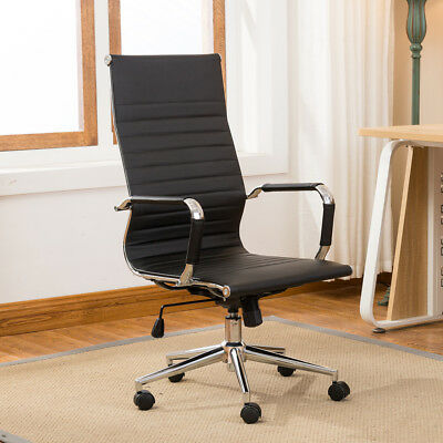 Modern High-back Black Ribbed Upholstered Pu Leather Executive Office Chair Desk