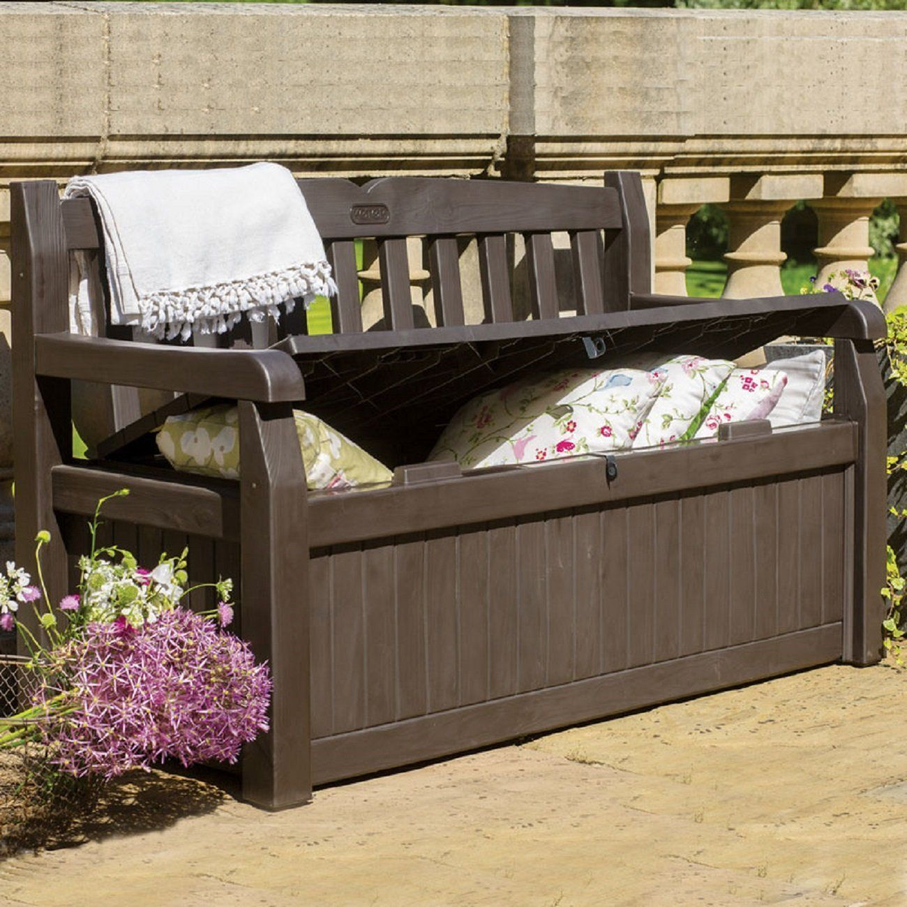 Garden Furniture - Outdoor Storage Bench Patio Box 70 Gallon Garden Deck Patio Pool Furniture Brown