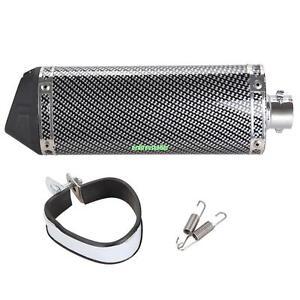 38mm ATV Street Bike Carbon Fiber Motorcycle Exhaust Muffler w/ Movable Silencer