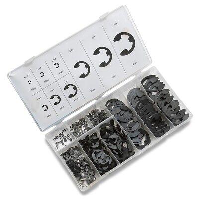 300pc E-Clip Assortment | Black Oxide Fastener Set Retaining Ring Kit (50455A)