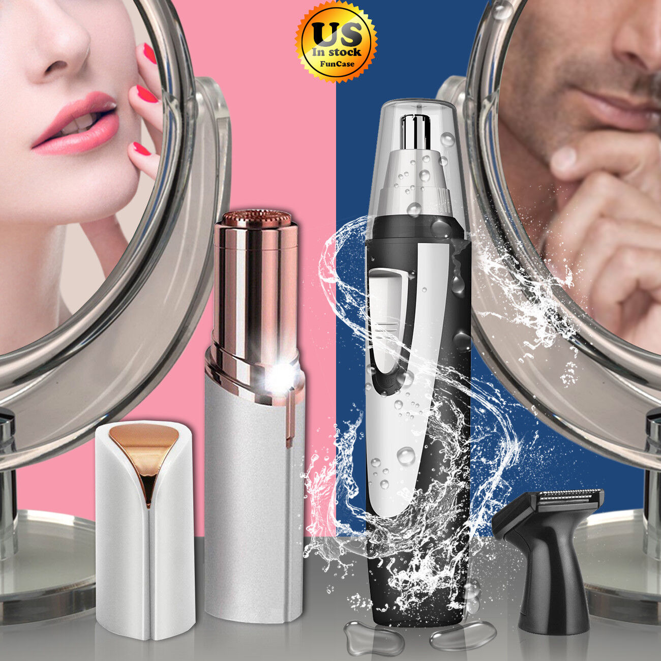 Women Painless Flawless Facial Face Fuzz Men Nose Hair Remov