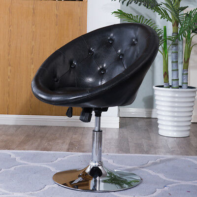 1PC Adjustable Modern Swivel Round Tufted Back Accent Chair PU Leather Black New