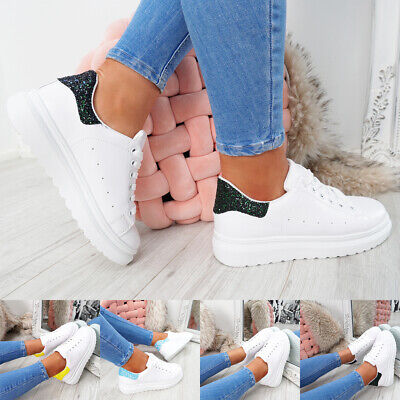 WOMENS LADIES LACE UP TRAINERS GLITTER SPARKLE SNEAKERS PLIMSOLLS WOMEN SHOES