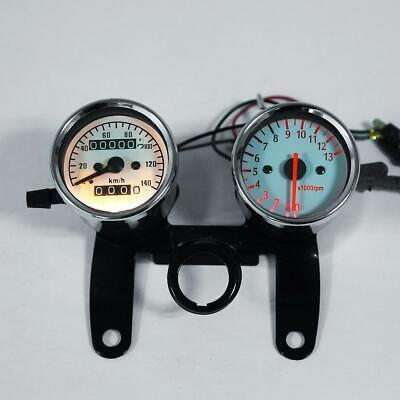 Universal Motorcycle Odometer & Tachometer Speedometer Gauge + Bracket Kit Combo