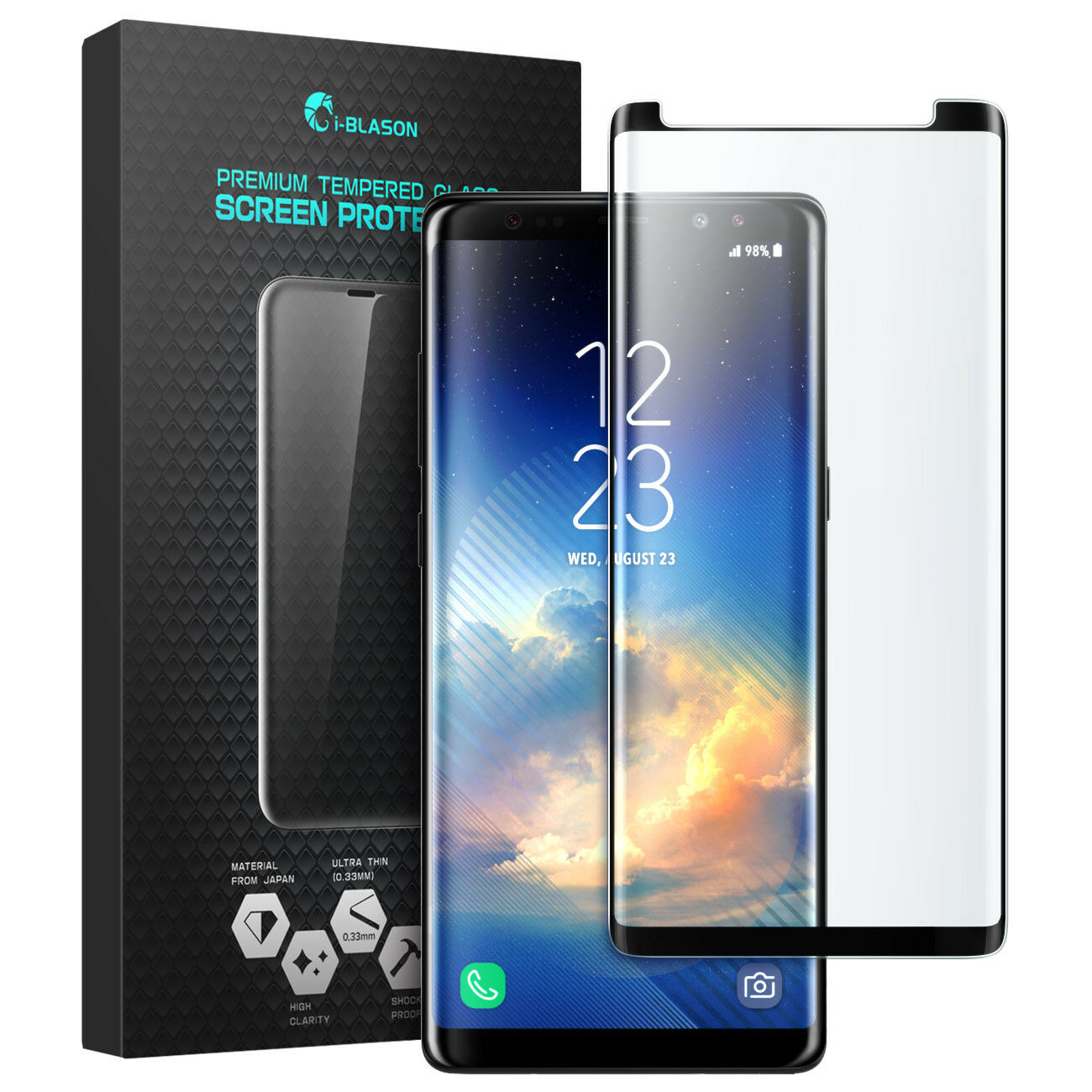 i-Blason Galaxy Note 8 Screen Protector, Curved Edge-to-Edge