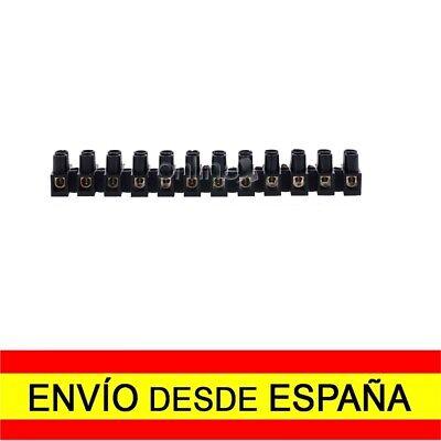 Regleta de 12 Secciones Conexiones Eléctricas 4mm 3 Amperios Negra a4420