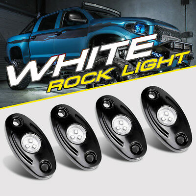White LED Rock Light w/4Pods Lights For JEEP Off Road Truck Car ATV Under Body