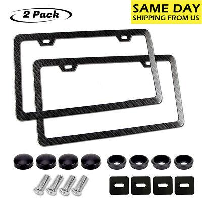 2Pcs Carbon Fiber License Plate Frames Front Rear Slim Rim Cover 2 holes,Screws