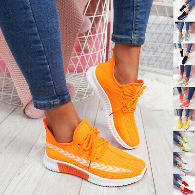 WOMENS LADIES LACE UP MESH TRAINERS GYM RUNNING SNEAKERS WOMEN PARTY SHOES SIZE