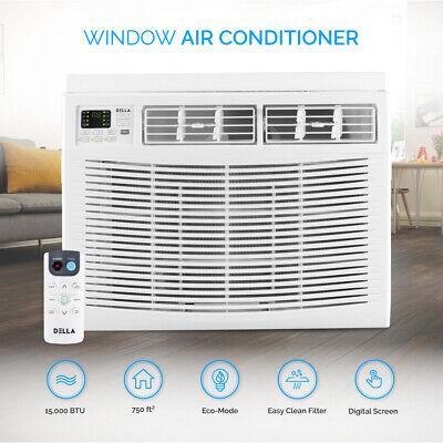 DELLA AC Compact Window Mounted Air Conditioner 15,000 BTU W