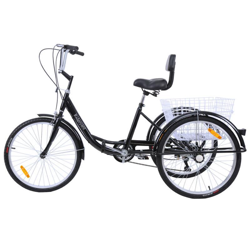 "Ridgeyard 24"" Adult Tricycle 3Wheel Shimano 7 Speed Bicycle"