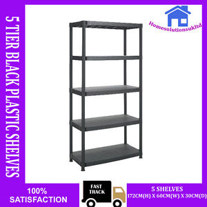 heavy duty 5 tier black plastic racking shelving shelves rack storage shelf unit ebay. Black Bedroom Furniture Sets. Home Design Ideas