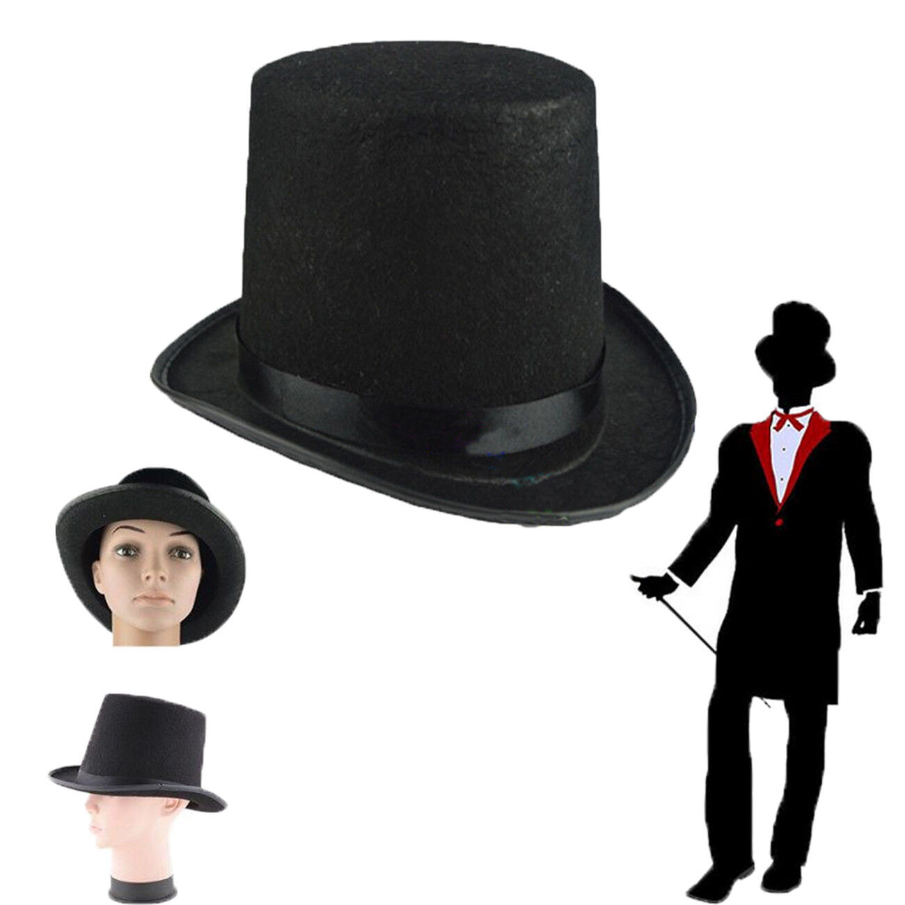 DELUXE TALL SATIN BELL TOP HAT ADULTS FANCY DRESS VICTORIAN RINGMASTER MAGICIAN