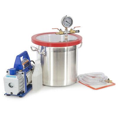 3 Gallon Vacuum Chamber W 4 Cfm Deep Vane Pump Purge Degas Epoxy Silicone Resin