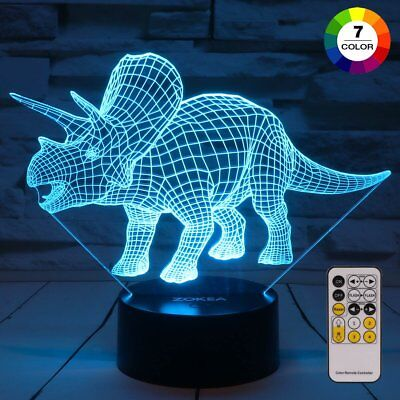 Night Lights For Kids Dinosaur 3D Night Light Bedside Lamp 7 Colors Changing