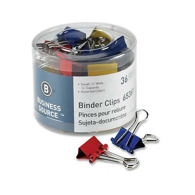 Business Source Binder Clips Small 34w 38 Capacity 36pk Assorted 65361