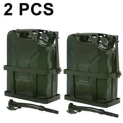 2x 5 Gallon Jerry Can Fuel Steel Tank Green Military Nato 20l Gasoline Storage