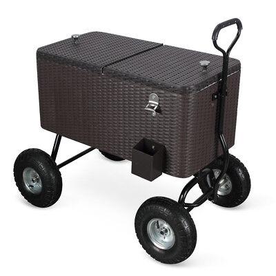 80 Qt Ice Chest Cooler Sports Party Backyard Wagon w/ 10' Terrain Wheels, Rattan