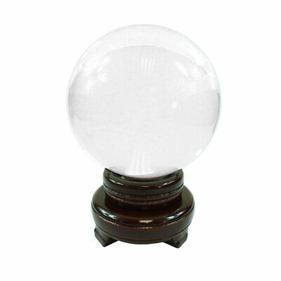 HONGVILLE Feng Shui and Home Decor Solid Clear Glass Crystal Ball Sphere with Wo ()