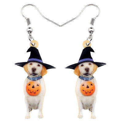Acrylic Halloween Pumpkin Labrador Dog Earrings Drop Dangle Jewelry For Girl - Halloween Pumpkins For Children