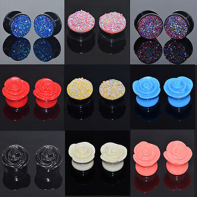 1Pair Sparkling&Flower Ear Gauges Single Flared Ear Plugs Free Delivery Hot US