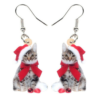 Acrylic Christmas Cat Kitten Earrings Dangle Trendy Animal Jewelry For Women Kid