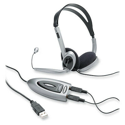 Compucessory Headset w/USB Adapter LED Indicator 3.5mm Jack Black/Silver 55257