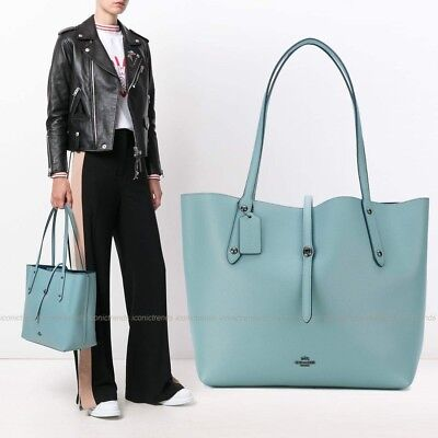 NWT COACH Pebbled Leather Turnlock Market Tote Bag Cloud Blue Green Silver 58849