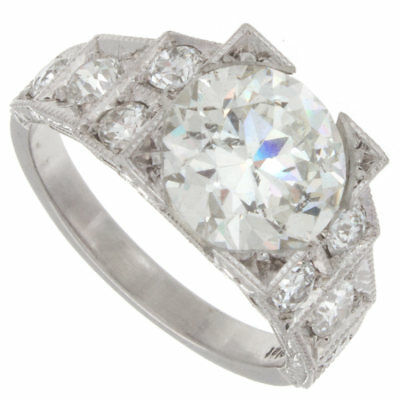 3.50ct GIA Certified Old European Platinum Antique Diamond Engagement Ring