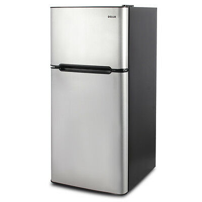 ثلاجة جديد 4.5 cu. ft. Mini Fridge Compact Refrigerator Freezer Dorm Studio Stainless Steel