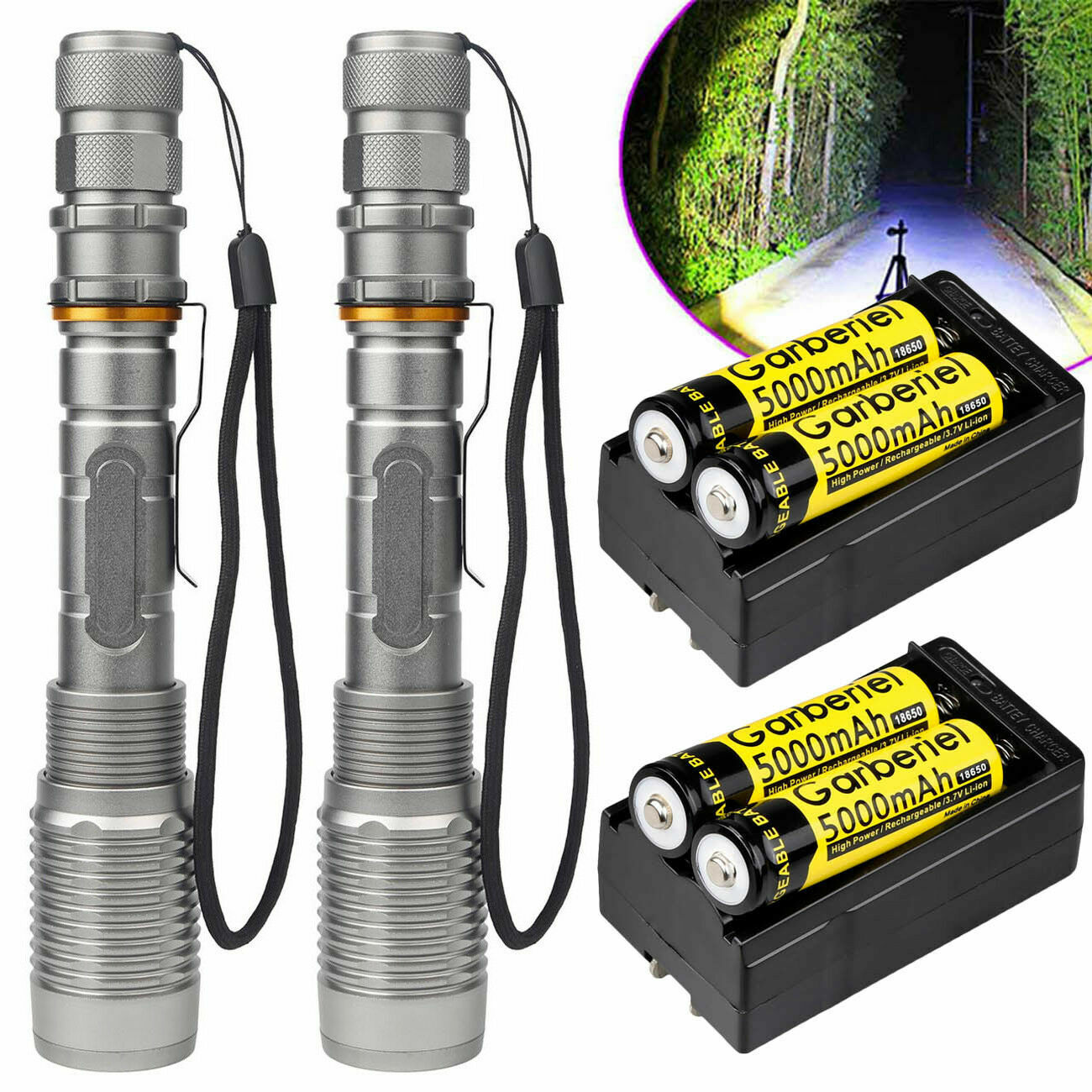 Tactical Police 350000Lumens T6 LED 5 Modes 18650 Flashlight Aluminum Zoom Torch Camping & Hiking