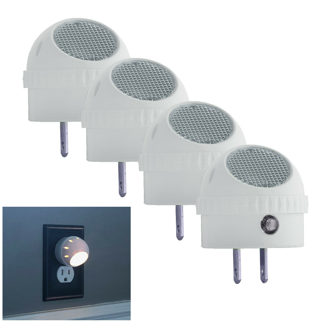 4 Pack LED Night Light Plug in with Auto Sensor Photocell, W
