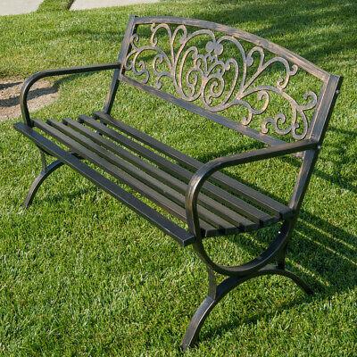 "Garden Furniture - 50""-inch Outdoor Bench Patio Backyard Metal Garden Furniture Seat Bronze/Black"