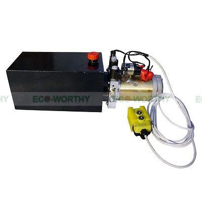 2200w Double Acting Hydraulic Pump 12v Dump Trailer - 10 Quart Metal Reservoir