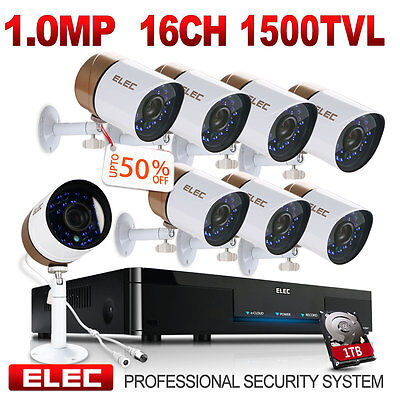 ELEC 16CH 960H HDMI DVR 1500TVL 8* Outdoor CCTV Home Security Camera System 1TB