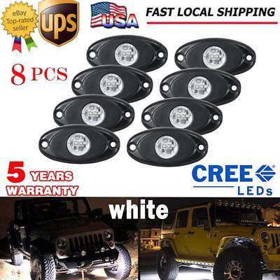8x CREE WHITE LED Rock Light Pods Offroad Fender Lamp Under Body Decor Truck - Lights Body