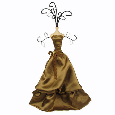 Mannequin Jewellery Display Stand Necklace Holder Lady Figure Dress Gift Gold