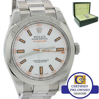 MINT Men's Rolex Milgauss 116400 White Orange 40mm Stainless Anti-Magnetic Watch