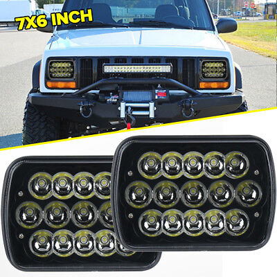 "Brightest 180W 7X6"" 5X7"" LED Headlight High Low For Chevrolet Jeep Cherokee XJ"