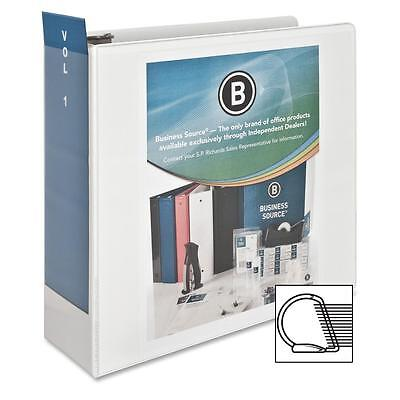 Business Source D-ring Binder W Pockets 4 Capacity White 28444