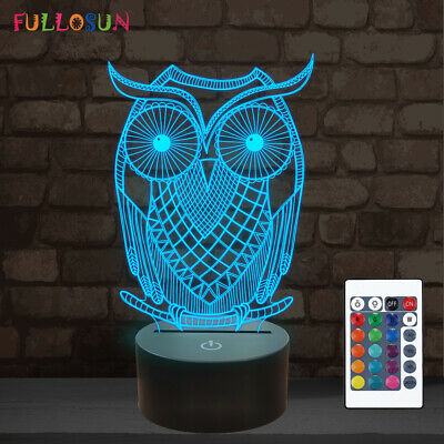 3D Owl Illusion Lamp,Remote Control 16 Color,LED Lampeez Kids Bedroom Best Gift ()
