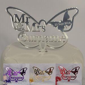Butterfly Wedding Cake Topper Personalised Mr & Mrs Keepsake in Mirror Acrylic