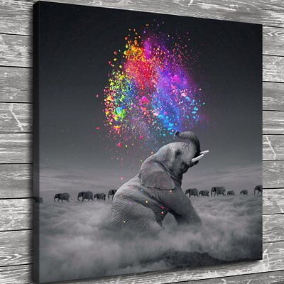 Elephant Home Decor (Elephant Spray Color Painting HD Print Canvas Home Decor Room Wall Art Picture )