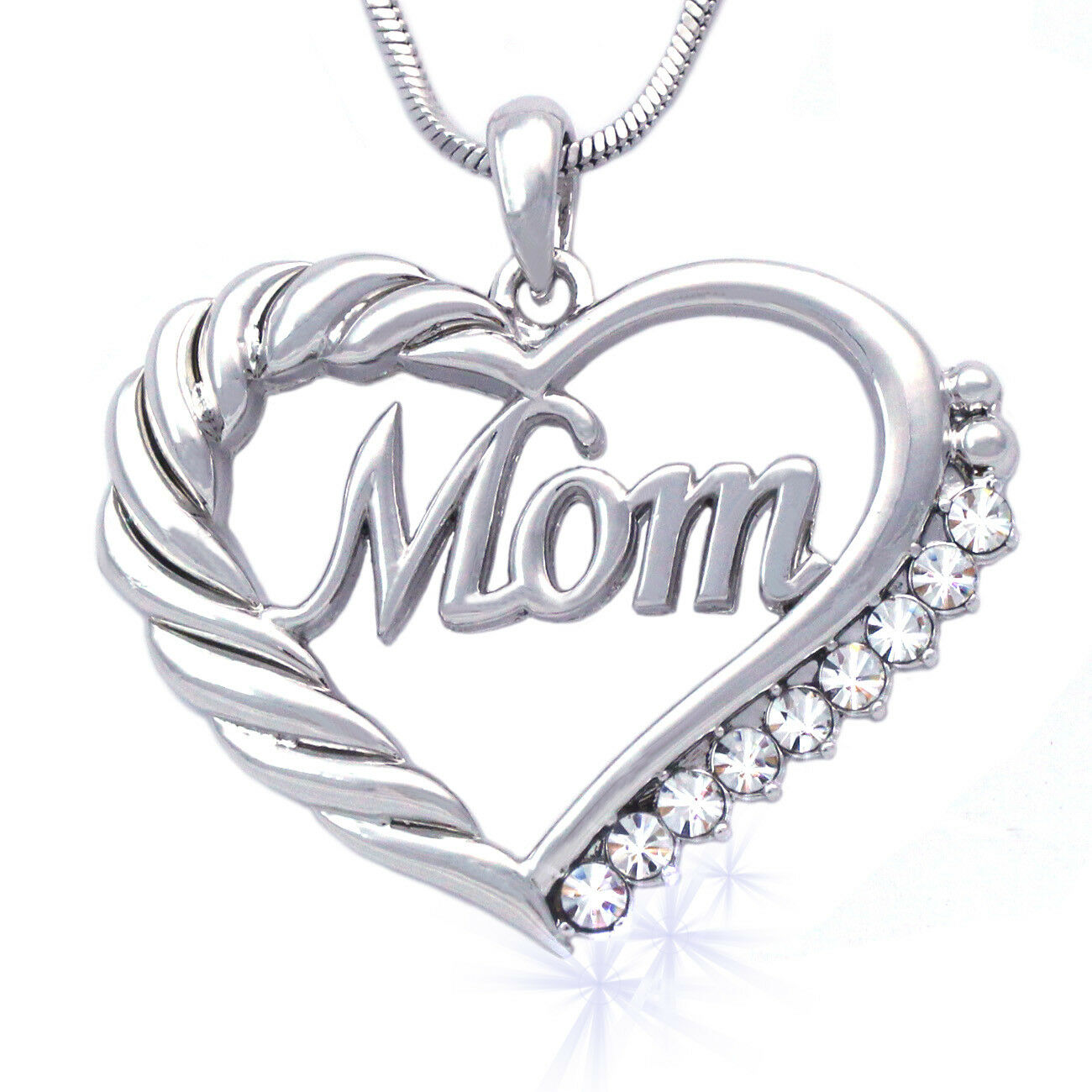 Heart MOM Necklace Mothers Day Birthday Gift for Wife MOM Crystal GIFT BOX CARD