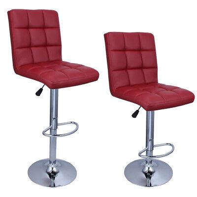 2 Swivel PU Leather Modern Adjustable Hydraulic Bar Stool Bar-stool Merlot Red ()