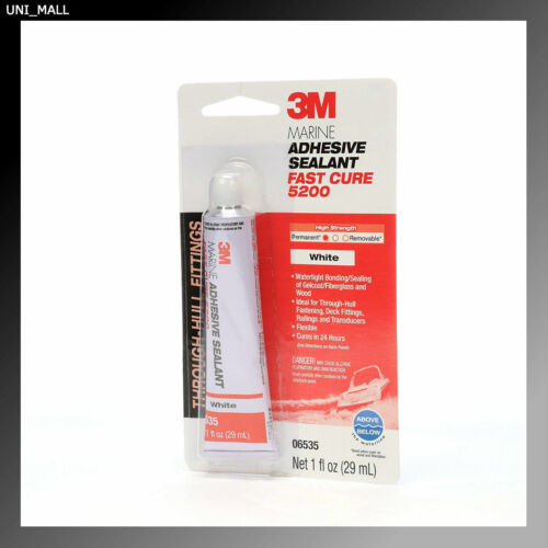 3M New 06535 Marine Adhesive Sealant 5200 Fast Cure White,1 oz Tube