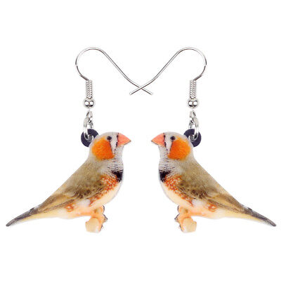 Acrylic Zebra Finch Bird Earrings Drop Dangle Fashion Jewelry For Women Kid Gift