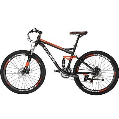 """Mens Mountain Bike Full Suspension Bikes 27.5"""" Wheels Shimano 21 Speed Bicycle"""